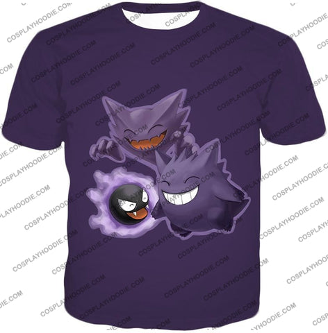 Image of Pokemon Favourite Ghost Trio Ghastly Hunter And Gengar Cool Anime T-Shirt Pkm105 / Us Xxs (Asian Xs)