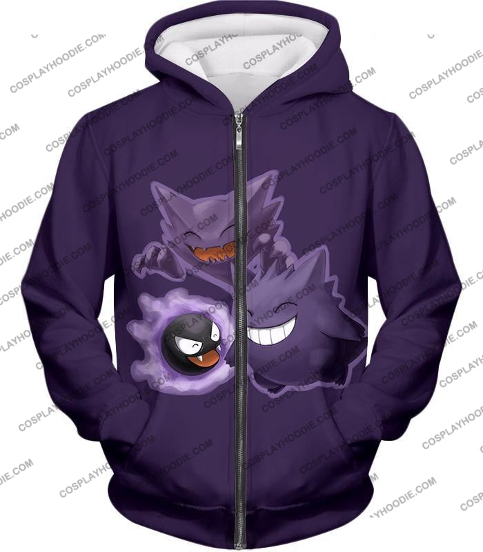 Pokemon Favourite Ghost Trio Ghastly Hunter And Gengar Cool Anime T-Shirt Pkm105 Zip Up Hoodie / Us