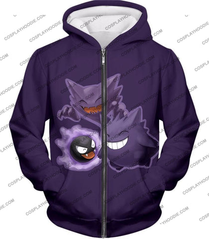 Image of Pokemon Favourite Ghost Trio Ghastly Hunter And Gengar Cool Anime T-Shirt Pkm105 Zip Up Hoodie / Us