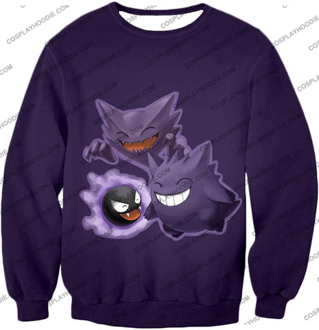 Image of Pokemon Favourite Ghost Trio Ghastly Hunter And Gengar Cool Anime T-Shirt Pkm105 Sweatshirt / Us Xxs