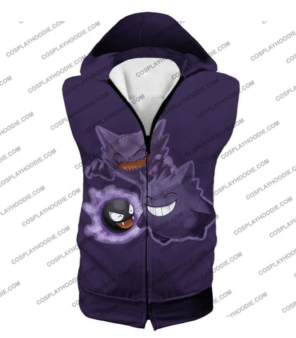 Image of Pokemon Favourite Ghost Trio Ghastly Hunter And Gengar Cool Anime T-Shirt Pkm105 Hooded Tank Top /