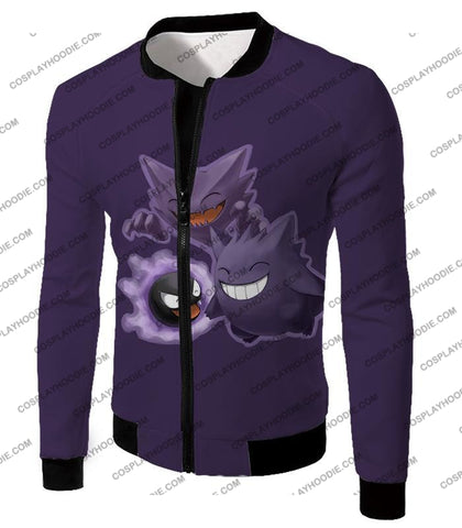 Image of Pokemon Favourite Ghost Trio Ghastly Hunter And Gengar Cool Anime T-Shirt Pkm105 Jacket / Us Xxs