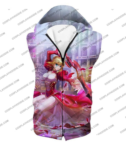 Image of Fate Stay Night Beautiful Saber Extra Cool Printed T-Shirt Fsn108 Hooded Tank Top / Us Xxs (Asian