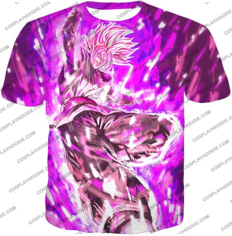 Image of Dragon Ball Super Ultimate Villain Black Goku Zamasu Cool Purple Graphic T-Shirt Dbs109 / Us Xxs