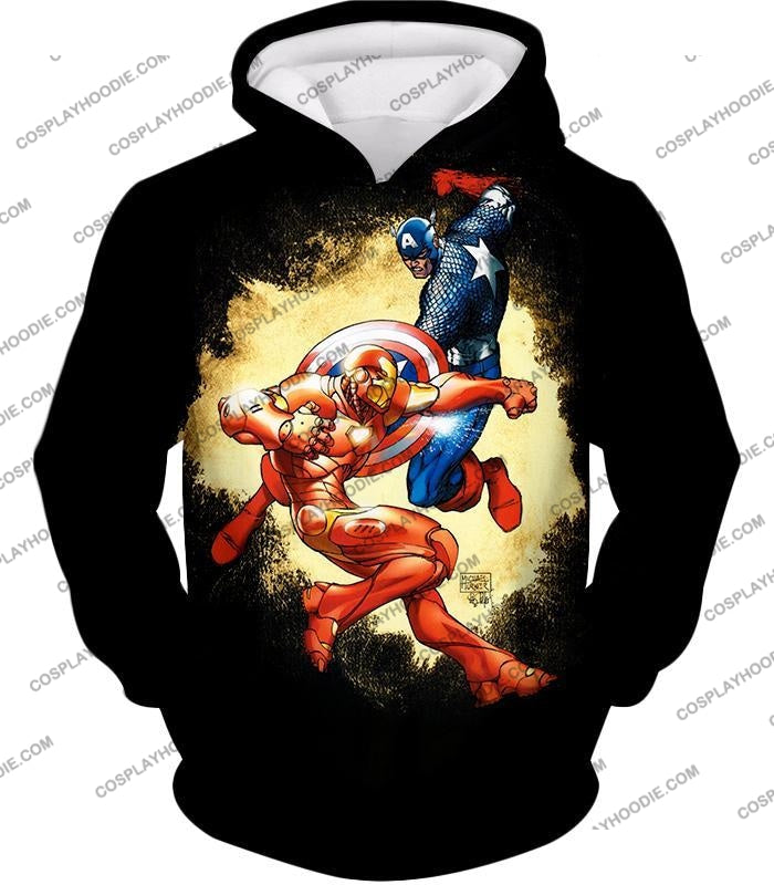 Marvel Comic Heroes Captain America Vs Iron Man Cool Action Black T-Shirt Ca011 Hoodie / Us Xxs