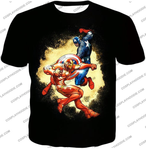 Image of Marvel Comic Heroes Captain America Vs Iron Man Cool Action Black T-Shirt Ca011 / Us Xxs (Asian Xs)