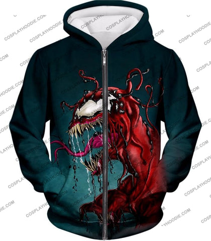Deadly Alien Symbiote Venom T-Shirt Ve011 Zip Up Hoodie / Us Xxs (Asian Xs)