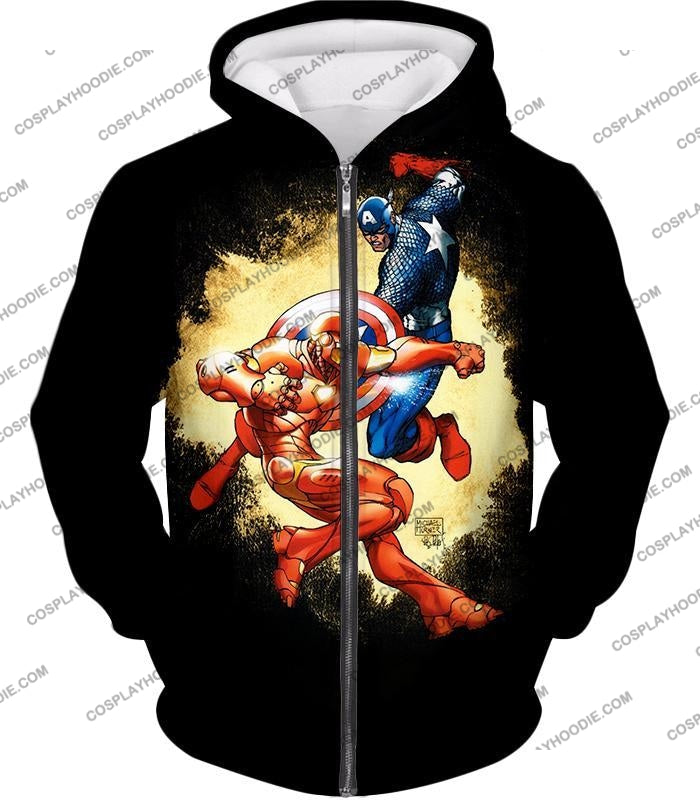 Marvel Comic Heroes Captain America Vs Iron Man Cool Action Black T-Shirt Ca011 Zip Up Hoodie / Us