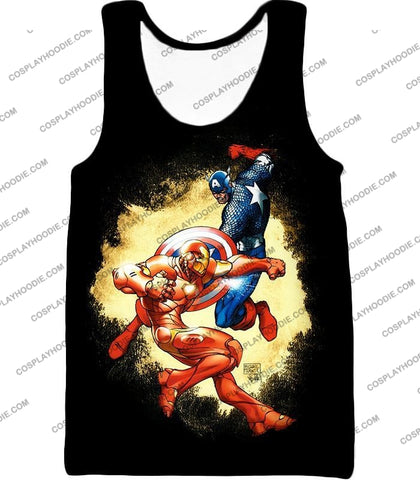 Image of Marvel Comic Heroes Captain America Vs Iron Man Cool Action Black T-Shirt Ca011 Tank Top / Us Xxs