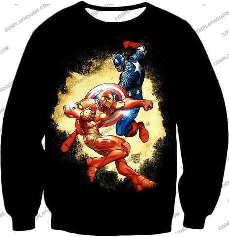 Image of Marvel Comic Heroes Captain America Vs Iron Man Cool Action Black T-Shirt Ca011 Sweatshirt / Us Xxs