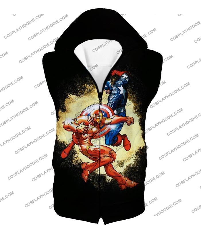 Marvel Comic Heroes Captain America Vs Iron Man Cool Action Black T-Shirt Ca011 Hooded Tank Top / Us