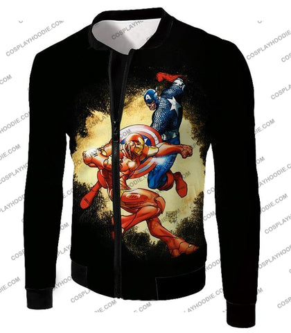 Image of Marvel Comic Heroes Captain America Vs Iron Man Cool Action Black T-Shirt Ca011 Jacket / Us Xxs