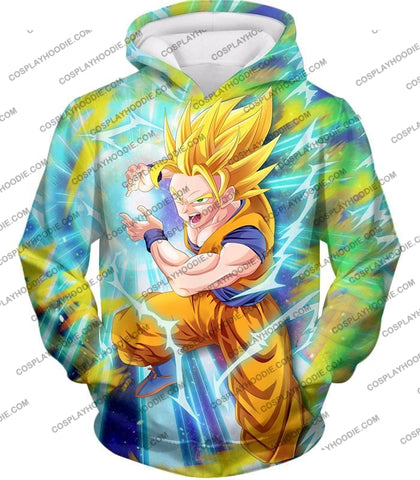 Image of Dragon Ball Super Saiyan 2 Goku Ultimate Attack Awesome Action T-Shirt Dbs110 Hoodie / Us Xxs (Asian