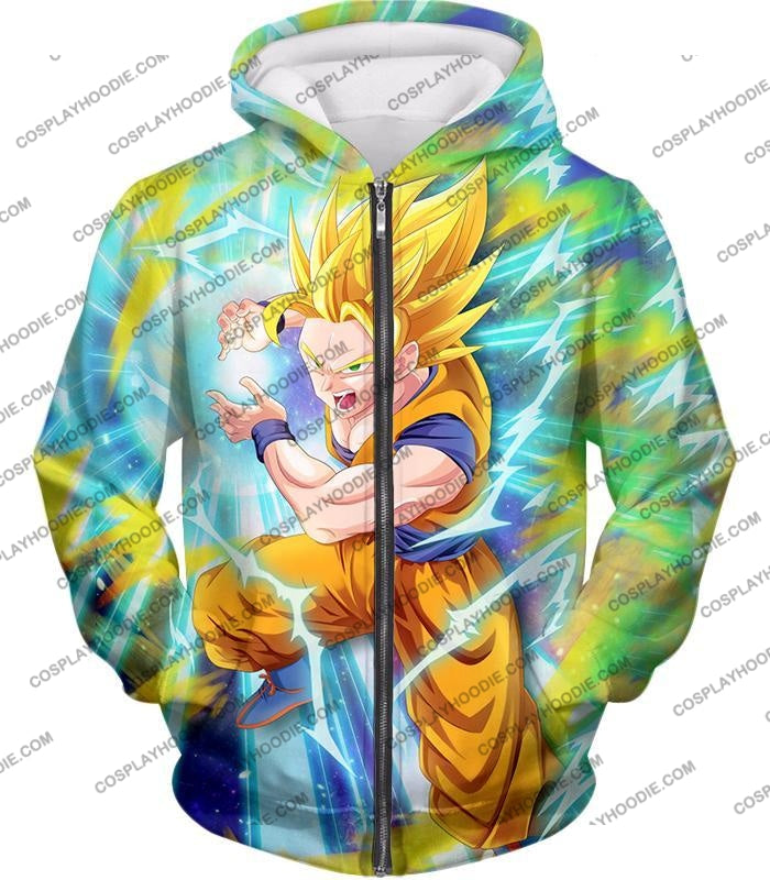 Dragon Ball Super Saiyan 2 Goku Ultimate Attack Awesome Action T-Shirt Dbs110 Zip Up Hoodie / Us Xxs