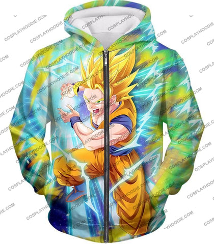 Image of Dragon Ball Super Saiyan 2 Goku Ultimate Attack Awesome Action T-Shirt Dbs110 Zip Up Hoodie / Us Xxs