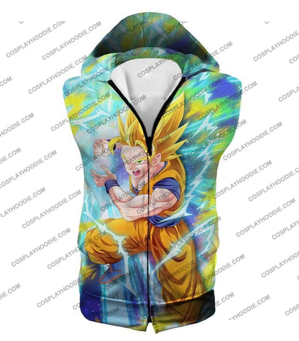 Image of Dragon Ball Super Saiyan 2 Goku Ultimate Attack Awesome Action T-Shirt Dbs110 Hooded Tank Top / Us