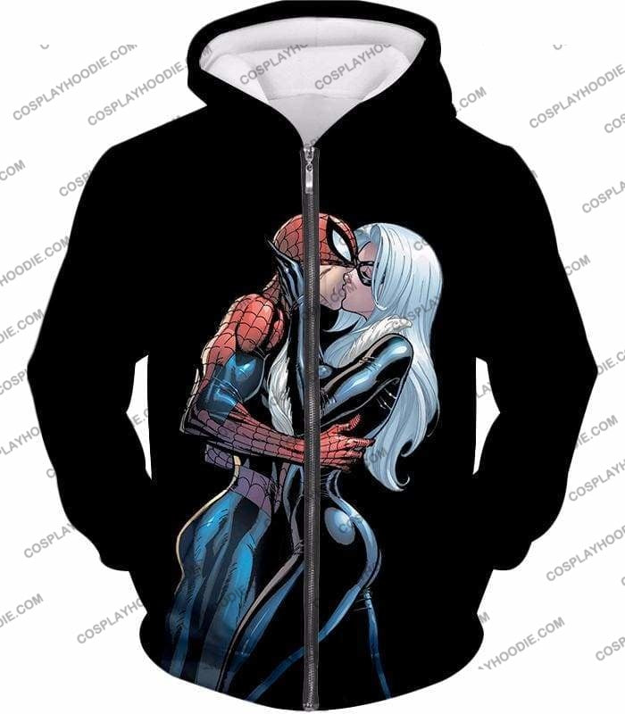 Hot Spiderman Black Cat Kiss Action Black T-Shirt Sp112 - Zip Up Hoodie / Us Xxs (Asian Xs) - T-Shirt