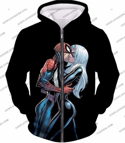 Image of Hot Spiderman Black Cat Kiss Action Black T-Shirt Sp112 - Zip Up Hoodie / Us Xxs (Asian Xs) - T-Shirt