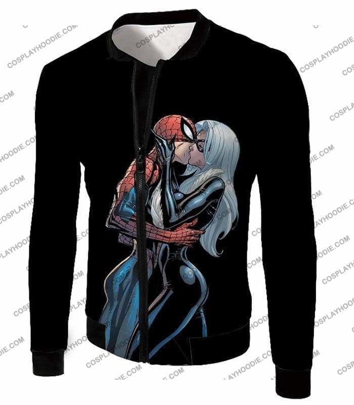 Hot Spiderman Black Cat Kiss Action Black T-Shirt Sp112 - Jacket / Us Xxs (Asian Xs) - T-Shirt