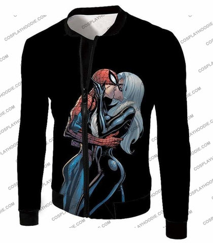Image of Hot Spiderman Black Cat Kiss Action Black T-Shirt Sp112 - Jacket / Us Xxs (Asian Xs) - T-Shirt
