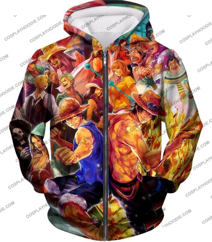 One Piece Cool All Favourite Characters Awesome T-Shirt Op113 Zip Up Hoodie / Us Xxs (Asian Xs)