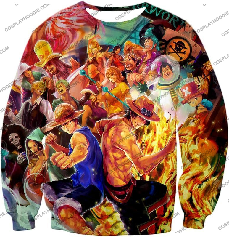 One Piece Cool All Favourite Characters Awesome T-Shirt Op113 Sweatshirt / Us Xxs (Asian Xs)