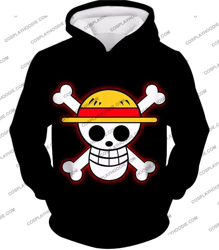 One Piece Pirate Crew Straw Hat Logo Cool Black T-Shirt Op114 Hoodie / Us Xxs (Asian Xs)