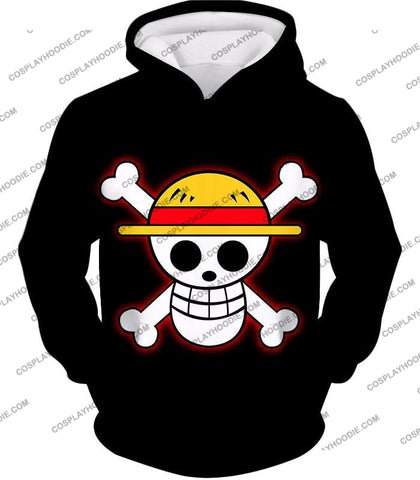 Image of One Piece Pirate Crew Straw Hat Logo Cool Black T-Shirt Op114 Hoodie / Us Xxs (Asian Xs)