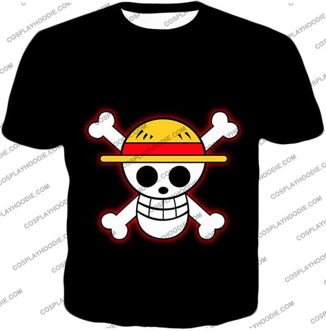 Image of One Piece Pirate Crew Straw Hat Logo Cool Black T-Shirt Op114 / Us Xxs (Asian Xs)