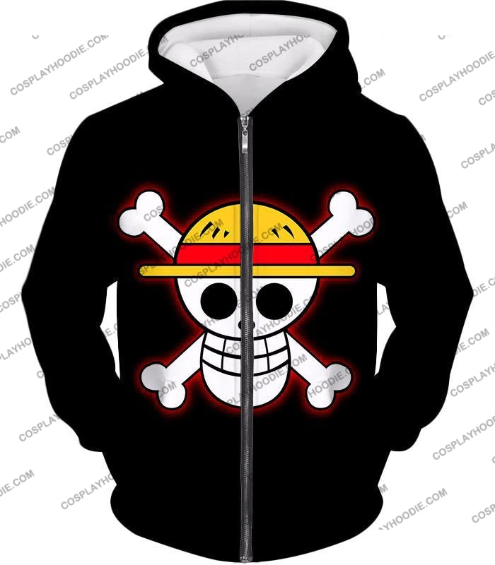 One Piece Pirate Crew Straw Hat Logo Cool Black T-Shirt Op114 Zip Up Hoodie / Us Xxs (Asian Xs)