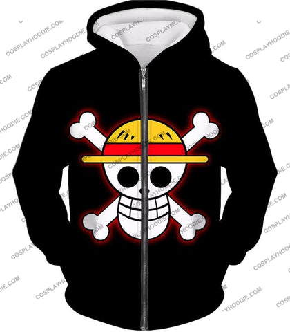 Image of One Piece Pirate Crew Straw Hat Logo Cool Black T-Shirt Op114 Zip Up Hoodie / Us Xxs (Asian Xs)