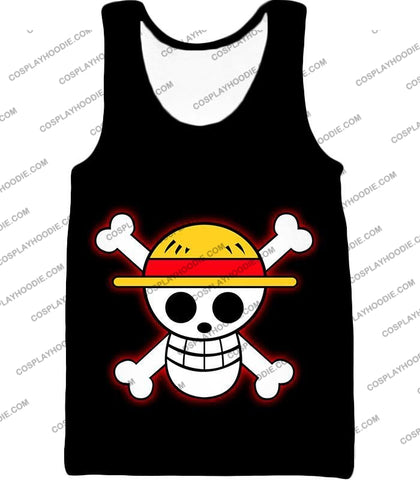 Image of One Piece Pirate Crew Straw Hat Logo Cool Black T-Shirt Op114 Tank Top / Us Xxs (Asian Xs)
