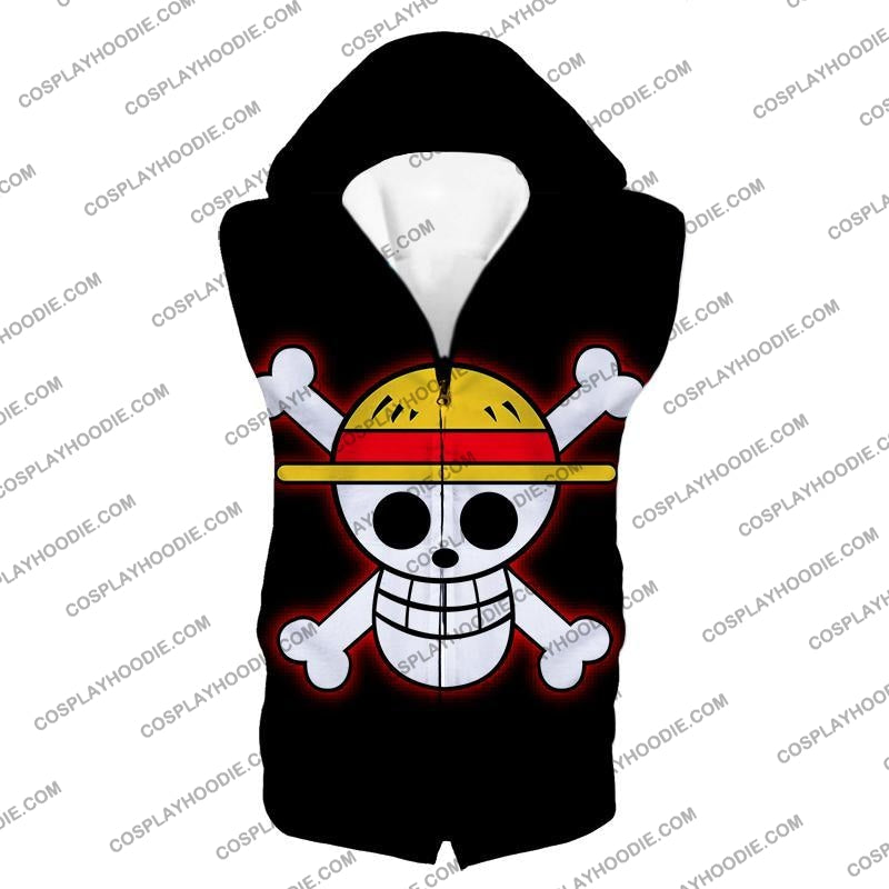 One Piece Pirate Crew Straw Hat Logo Cool Black T-Shirt Op114 Hooded Tank Top / Us Xxs (Asian Xs)