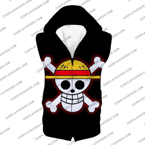 Image of One Piece Pirate Crew Straw Hat Logo Cool Black T-Shirt Op114 Hooded Tank Top / Us Xxs (Asian Xs)