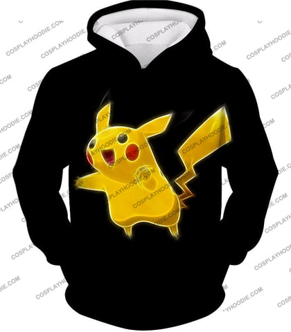 Image of Pokemon Favourite Thunder Type Pikachu Cool Black T-Shirt Pkm115 Hoodie / Us Xxs (Asian Xs)