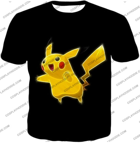 Image of Pokemon Favourite Thunder Type Pikachu Cool Black T-Shirt Pkm115 / Us Xxs (Asian Xs)