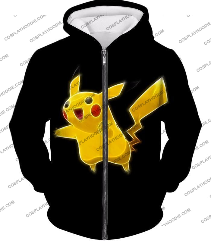 Pokemon Favourite Thunder Type Pikachu Cool Black T-Shirt Pkm115 Zip Up Hoodie / Us Xxs (Asian Xs)