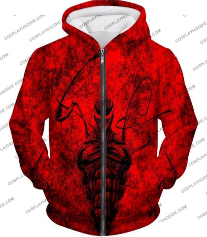 Image of Deadly Spiderman Villain Carnage Blood Red T-Shirt Sp115 Zip Up Hoodie / Us Xxs (Asian Xs)