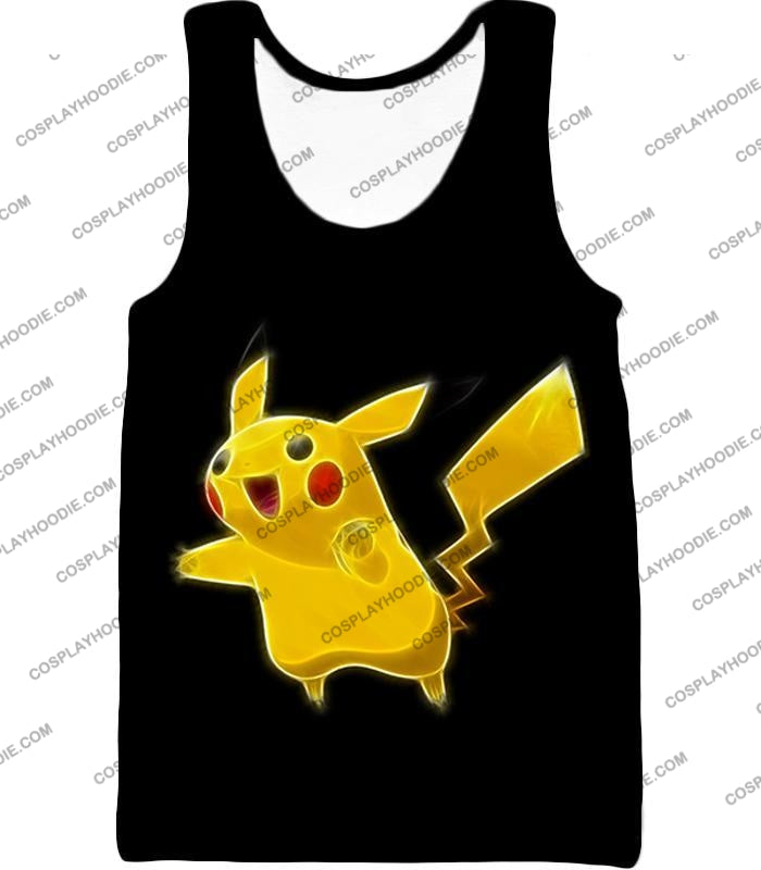 Pokemon Favourite Thunder Type Pikachu Cool Black T-Shirt Pkm115 Tank Top / Us Xxs (Asian Xs)