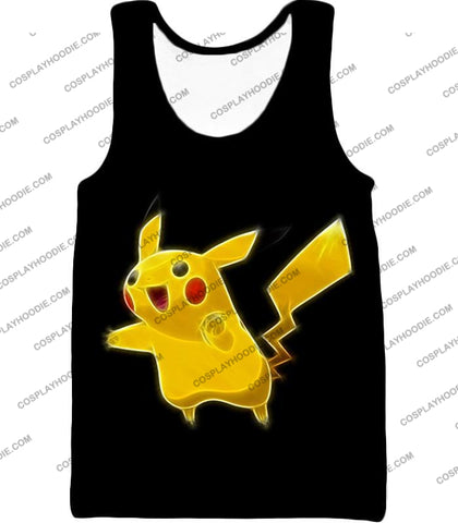 Image of Pokemon Favourite Thunder Type Pikachu Cool Black T-Shirt Pkm115 Tank Top / Us Xxs (Asian Xs)