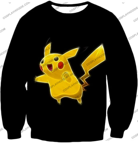 Image of Pokemon Favourite Thunder Type Pikachu Cool Black T-Shirt Pkm115 Sweatshirt / Us Xxs (Asian Xs)