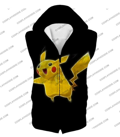 Image of Pokemon Favourite Thunder Type Pikachu Cool Black T-Shirt Pkm115 Hooded Tank Top / Us Xxs (Asian Xs)