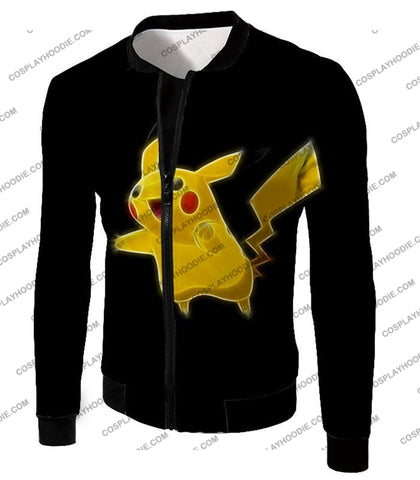 Image of Pokemon Favourite Thunder Type Pikachu Cool Black T-Shirt Pkm115 Jacket / Us Xxs (Asian Xs)