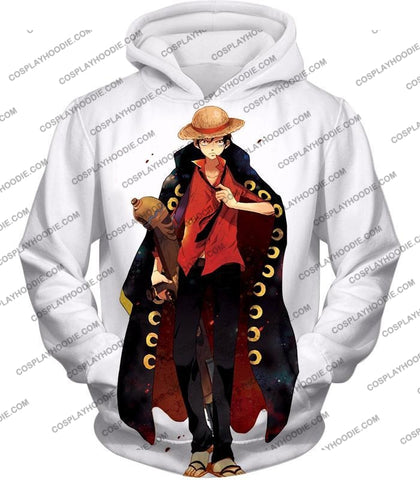 Image of One Piece Future Pirate King Straw Hat Luffy Cool White T-Shirt Op116 Hoodie / Us Xxs (Asian Xs)