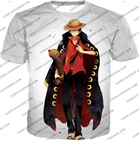 Image of One Piece Future Pirate King Straw Hat Luffy Cool White T-Shirt Op116 / Us Xxs (Asian Xs)