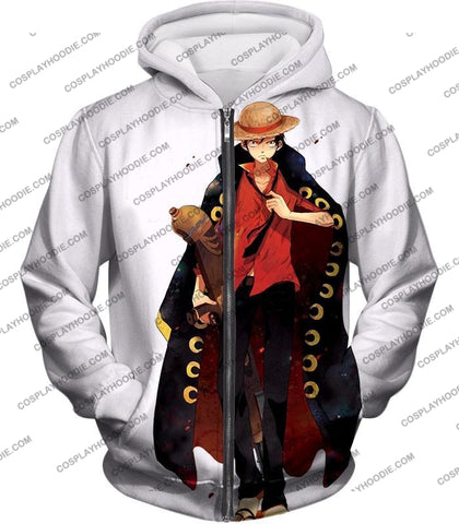 Image of One Piece Future Pirate King Straw Hat Luffy Cool White T-Shirt Op116 Zip Up Hoodie / Us Xxs (Asian