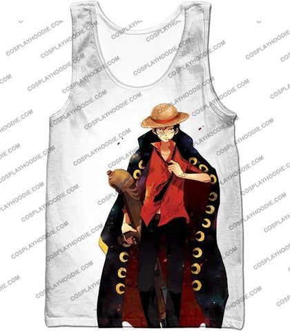 Image of One Piece Future Pirate King Straw Hat Luffy Cool White T-Shirt Op116 Tank Top / Us Xxs (Asian Xs)
