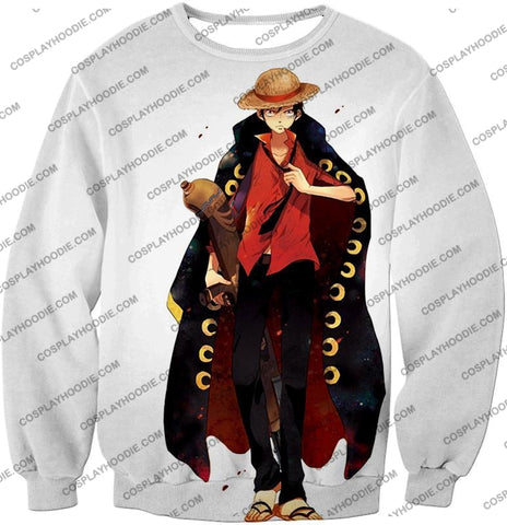 Image of One Piece Future Pirate King Straw Hat Luffy Cool White T-Shirt Op116 Sweatshirt / Us Xxs (Asian Xs)