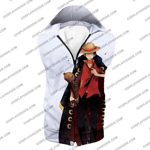 Image of One Piece Future Pirate King Straw Hat Luffy Cool White T-Shirt Op116 Hooded Tank Top / Us Xxs