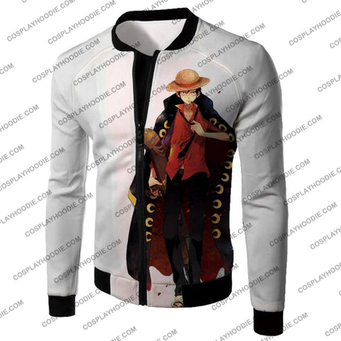 Image of One Piece Future Pirate King Straw Hat Luffy Cool White T-Shirt Op116 Jacket / Us Xxs (Asian Xs)
